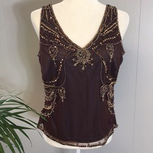 Adrianna Papell Size Large Embellished Beaded Top